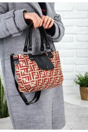 Bej Cilt Kırmızı Detaylı Çanta
