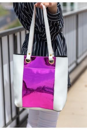 Beyaz Cilt Fuşya Hologram Detaylı Çanta