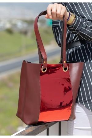 Bordo Cilt Kırmızı Hologram Detaylı Çanta