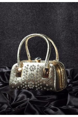 Gold Cilt Taş İşlemeli Bayan Çanta