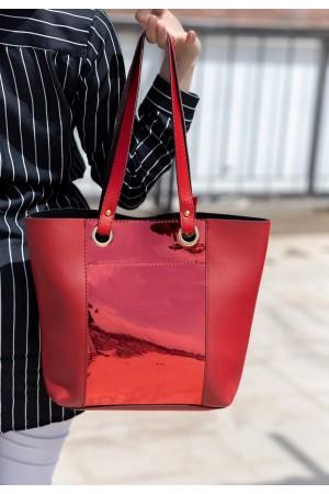 Kırmızı Cilt Kırmızı Hologram Detaylı Çanta