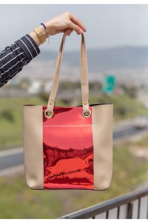 Krem Cilt Kırmızı Hologram Detaylı Çanta