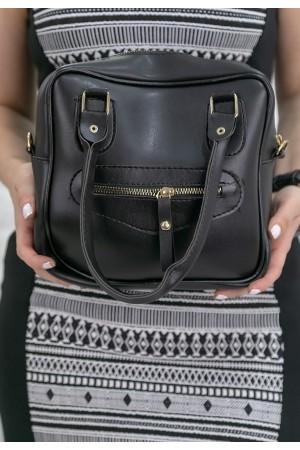 Siyah Cilt Fermuar Aksesuarlı Çanta