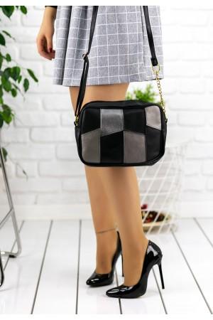 Siyah Cilt Gri Detaylı Çanta