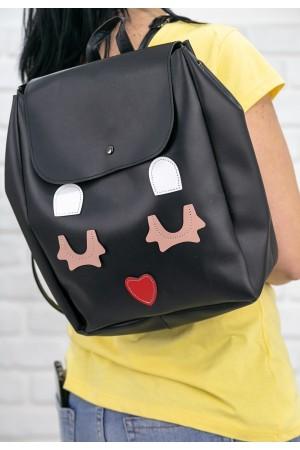 Siyah Cilt Kalp Detaylı Sırt Çantası
