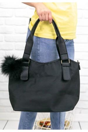 Siyah Cilt Ponponlu Çanta