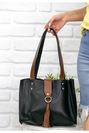 Siyah Cilt Taba Detaylı Çanta
