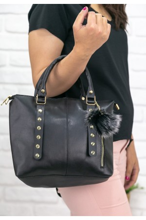 Siyah Cilt Taş İşlemeli Çanta