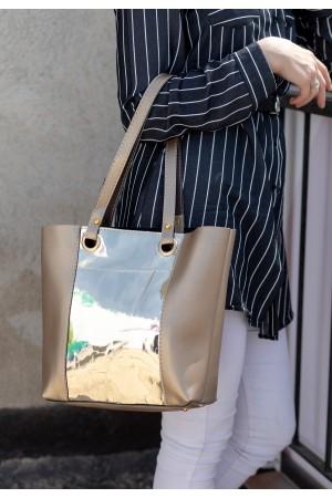 Vizon Cilt Gold Holagram Detaylı Çanta