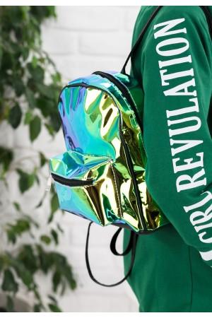 Yeşil Rugan Hologram Sırt Çantası