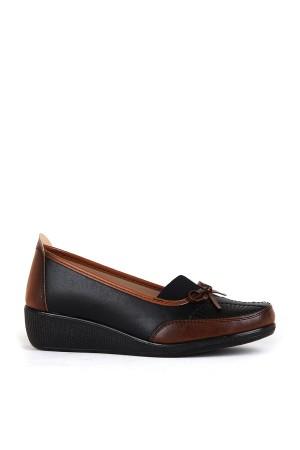 BA - Annamaria 013 Zenne 20/K Cilt Comfort Ayakkabı - Siyah - Taba