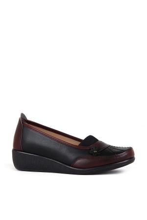 BA - Annamaria 015 Zenne 20/K Cilt Comfort Ayakkabı - Siyah - Bordo