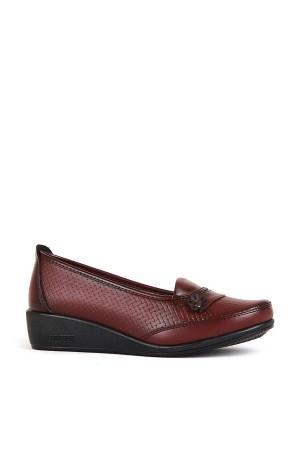 BA - Annamaria 309(37-40) Çiçek Hasır Bskı Cilt Comfort Ayakkabı - Bordo