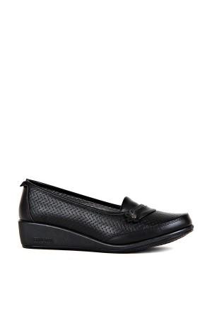 BA - Annamaria 309(37-40) Çiçek Hasır Bskı Cilt Comfort Ayakkabı - Siyah
