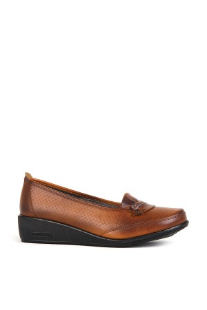 BA - Annamaria 309(37-40) Çiçek Hasır Bskı Cilt Comfort Ayakkabı - Taba
