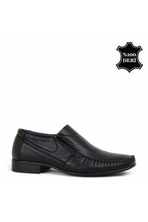 KND - Frank Peter B-052 Lastikli Erkek Deri Rok Ayakkabı - Siyah