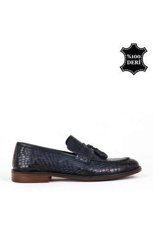 KND - Frank Peter P-01 Erkek Deri Casual Ayakkabı - Lacivert